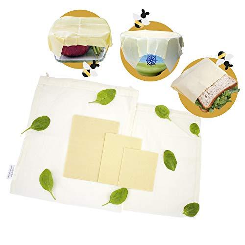 Bee wraps– 3 Emballages Alimentaires en Cire d'Abeille Française Bio Réutilisables – 2 Sacs en Tissu Coton Bio pour Fruits Légumes - 5 Produits Naturels Ecologiques Zéro déchet –Cadeau Eco Responsable