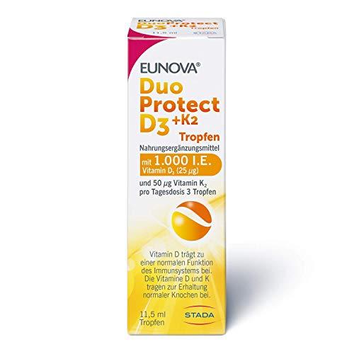 EUNOVA DuoProtect D3 + K2 1000 I.E. - Tropfen - Nahrungsergänzungsmittel für gesunde Knochen - 1 x 11,5 ml