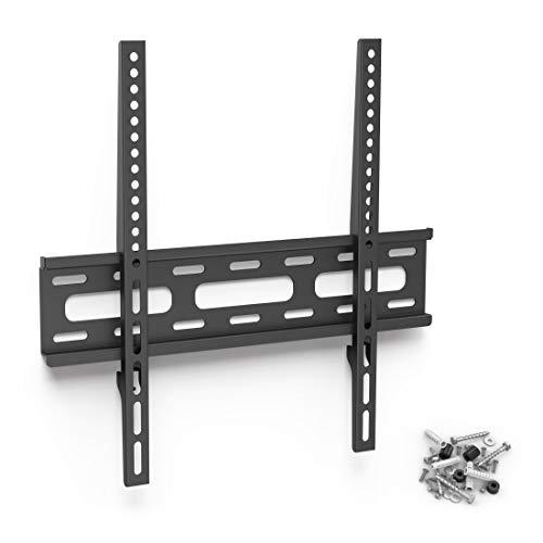 Hama TV-Wandhalterung Ultraslim (Wandhalter Fernseher für 32-65 Zoll, Fixe Halterung VESA bis 400x400, Max. 30 kg, inkl. Fischer Dübel) Schwarz