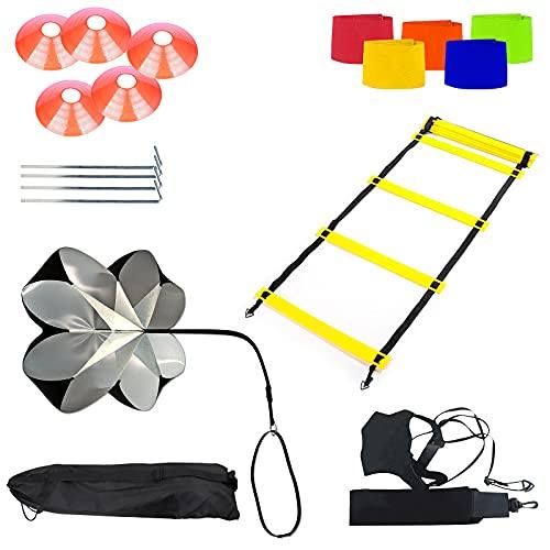 AMIGOB 7PCS Kit Entrenamiento Velocidad y Agilidad de Fútbol, Paracaídas de Resistencia, 8m Escalera de Agilidad,1 Football Bungee, 5 Conos, 5 Fútbol Capitán Brazalete, 4 Clavos Metálicos y Bolsa