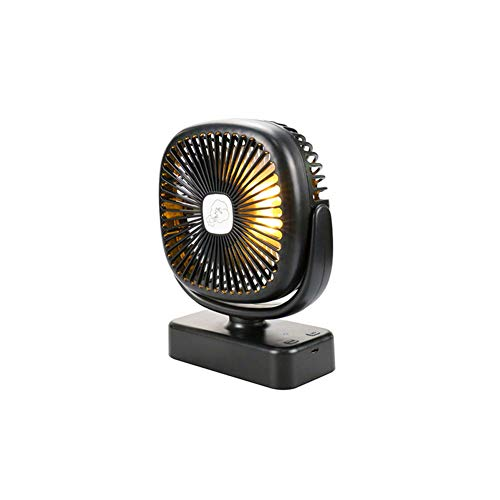 hjm Ventilador portátil para Carpas, Carga USB con luz LED, bajo Consumo de energía, diseño de Gancho, Funcionamiento silencioso, Ligero y Conveniente, Adecuado para Salidas de Verano