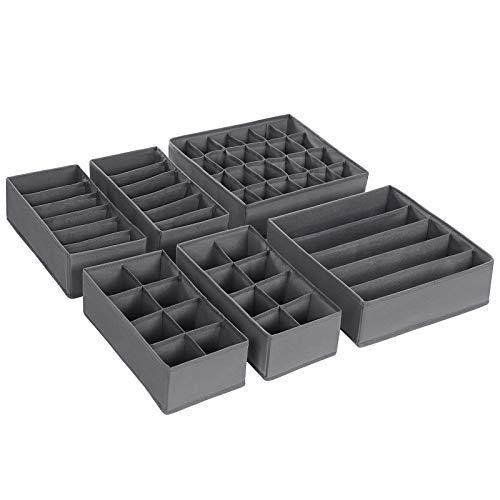SONGMICS Aufbewahrungsboxen für Unterwäsche, 6er Set, Schubladen-Organizer, Ordnungssystem für Kleiderschrank, für Unterwäsche, Socken, Krawatten, Faltboxen, Stoffboxen, grau RUS06GY