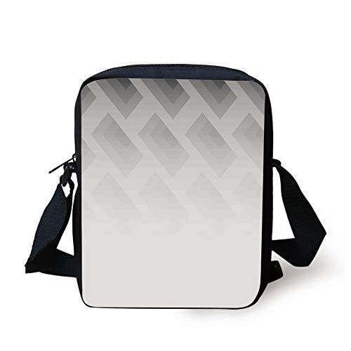 FAFANIQ Grey,Blur Poster Display with Simplistic Square Shapes Contemporary Optic Illusion Print Decorative,Cloud White Print Kids Crossbody Messenger Bag Purse