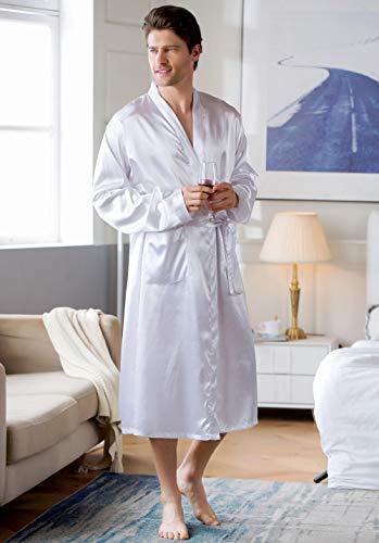 ASADVE Albornoz para Hombre, Bata, Pijama sólido, Pijama de Seda para Hombre, Kimono, Pijama para Hombre-Blanco_SG