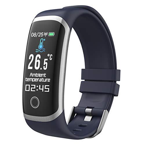 YZPFSD Smart Watch, Medidor De Temperatura Corporal, Contador De Calorías Y Kilómetros, Monitor De Ritmo Cardíaco, A Prueba De Agua, Compatible con iOS Y Android. Reloj Inteligente Deportivo,Blue