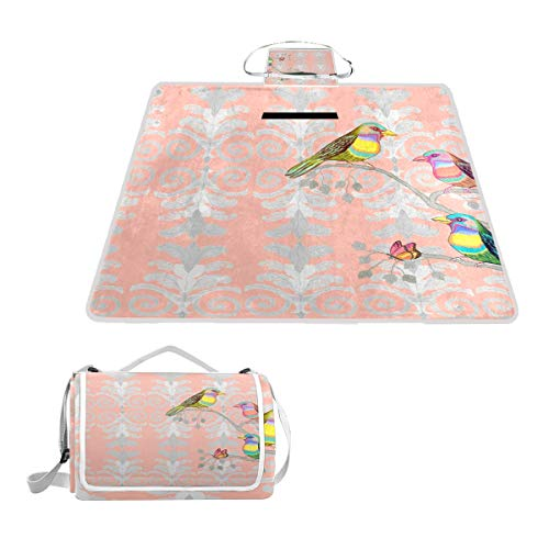 LORONA Colibríes coloridos con patrón de colibríes con adorno, manta de picnic, práctica esterilla resistente al moho y resistente al agua para camping, para picnics, playas, senderismo, viajes, viajes y excursiones