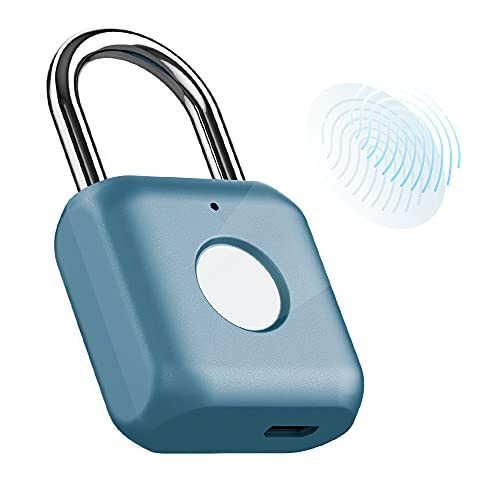 Fingerprint Padlock Smart Touch Lock Metal Anti-Theft Keyless Light Small Lock with USB Charging for Gym, House Door, Wardrobes, Backpack, Luggage Suitcase, Office, Outdoor No App, No Bluetooth (Blue)