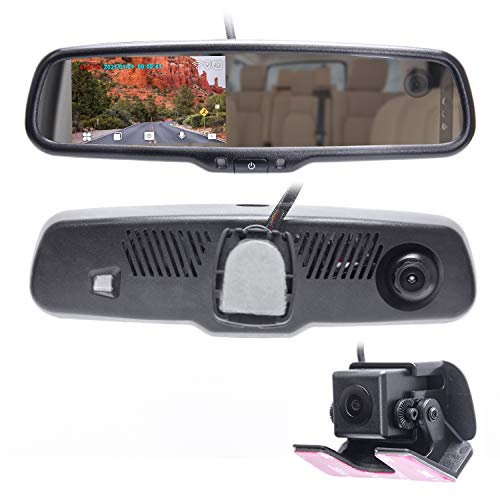 """Master Tailgaters 4"""" LCD Rear View Mirror with Three Cameras 1080p HD DVR Dash Cam with Mic + Infrared LED in-Cabin Camera (Records Forward and Inside Cabin Passengers) + AHD Backup Camera Included"""