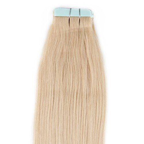 Beauty7 Extension de Cheveux Tape Ruban Adhesif Bande Raides/Droits/Lisse 100% Remy Hair Grade AAAA - Longueur 50cm (20 Inch) Poids 40g / 20 pcs Couleur Blond Platine #60