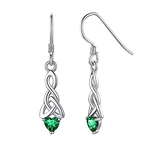ChicSilver 925 Sterling Silver Celtic Knot Drop Earrings White Gold Plated Green Crystal Emerald May Birthstone Heart Dangle Earrings Celtic Triquetra Jewelry