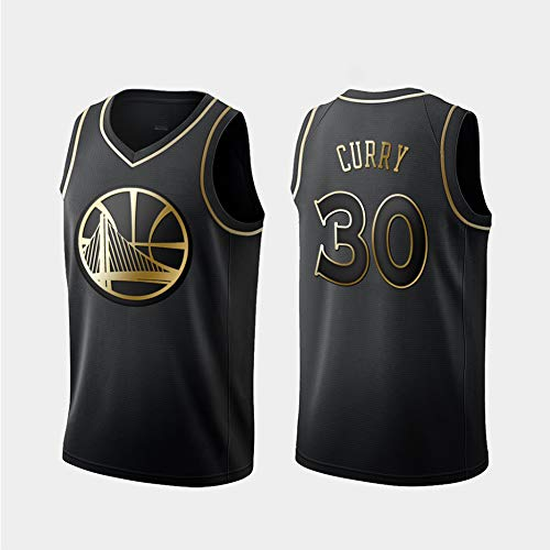 WLY Camiseta de Baloncesto Warriors Curry # 30, Camiseta de Baloncesto Bordada en Oro Negro, Ropa de Entrenamiento para Hombres y Mujeres, Tela cómoda-L