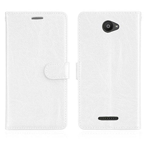 Cozy Hut BQ Aquaris U/U Lite Hülle Case Premium PU Leder Schutztasche [3 Card Slots Wallet Case] [Magnetverschluss] [Standfunktion] Handyhüllen Für BQ Aquaris U/U Lite - Reines Weiß
