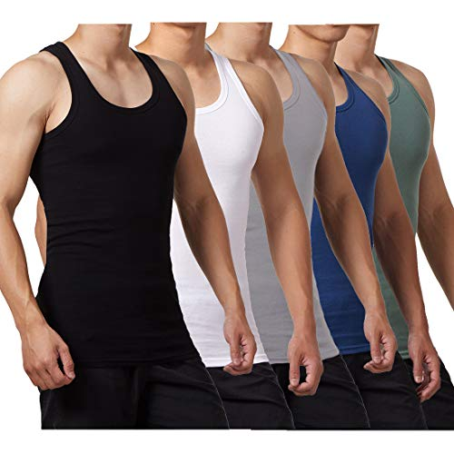 FALARY Camiseta de Tirantes para Hombre Pack de 5 de Algodón 100% más Colores Negro Blanco Gris Azul Marino Oliva L