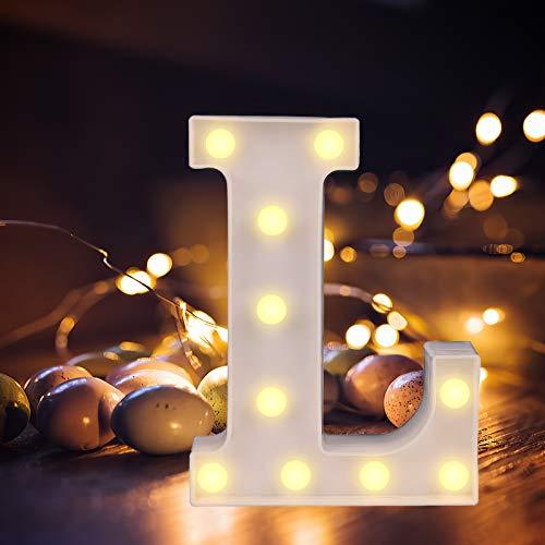 Yuehuam Letras de Marquesina Led Vintage Alfabeto Grande Iluminar Letrero Decoración Letras a - Z Luces de Símbolo para Fiesta de Bodas de Navidad Luz de Noche Barra de Inicio