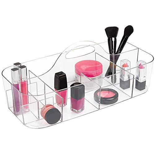 mDesign Kosmetikkorb mit 11 Fächern – tragbarer Aufbewahrungskorb aus Kunststoff für Pflegeprodukte – Badablage für Make-up-Pinsel, Nagellack, Rasierer und Co. – durchsichtig