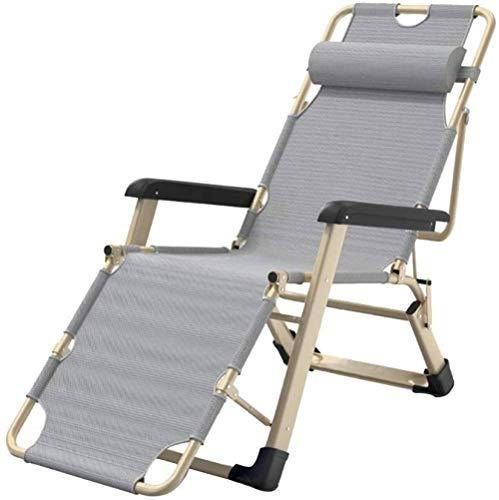 Tumbona reclinable plegable acolchada con reposacabezas extraíble y cojín opcional multiposición, ajustable con gravedad cero para balcón, tumbona al aire libre