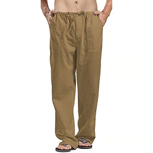GBEN Pantalones cortos de verano para hombre, de algodón y lino, estilo casual, elásticos, color liso, pantalones cortos de moda con cordón, para ir a la playa
