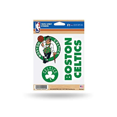 NBA Rico Industries Die Cut 3-Piece Triple Spirit Sticker Sheet, Boston Celtics