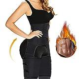 Caysim Waist Trainer for Women Thigh Trimmers Weight Loss Butt Lifter Thigh Eraser Slimming Support Belt Hip Raise Shapewear Hips Trainer Belt (Black, S/M)