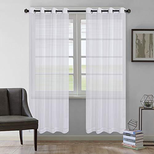 Rose Home Fashion Vorhang Transparent Weiß mit Ösen, 2 Stücke Voile Gardinen aus Terylen Ösenschal für Wohnzimmer Schlafzimmer 225 x 140 cm (H x B), Weiß