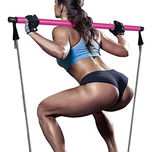 Cuerda Elástica de Pedal Barra de Pilates Bandas Elasticas Musculacion,Bandas de Resistencia con Cinco Tubo de Látex Barra de Pilates Cuerda de Tensión Multifunción(PLT-Rosado)