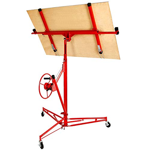Drywall Lift 11' Construction Rolling Caster Wheel Lockable Tool Panel Lift Drywall Panel Hoist Jack Lifter Jack Drywall Lift, Red