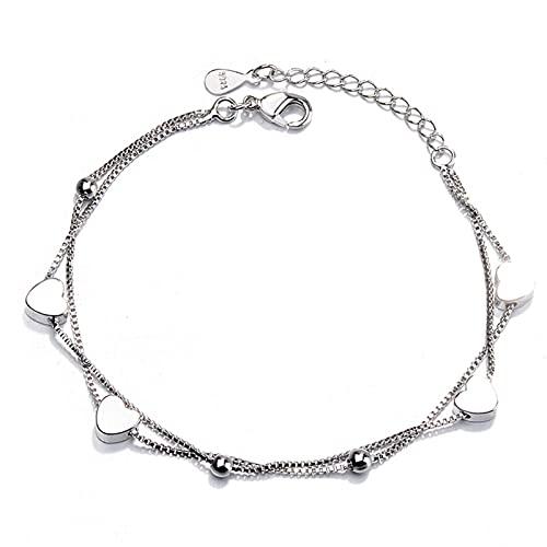 Pulsera de plata de ley 925 con forma de corazón doble, cadena de cuentas redondas, temperamentos, decoración para estudiantes regalos para niñas