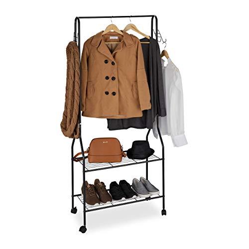 Relaxdays Rollgarderobe, mit 2 Ablagen f. Schuhe, Taschen, Accessoires, Haken, Metall, stabiler Kleiderständer, schwarz
