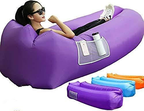 XUE-SHELF Ergonomische Aufblasbare Lounger Strand Bett Camping Stuhl Air Sofa Couch Hängematte mit Kissen, Wasserdicht Anti-Air Undichte einlagige Nylongewebe