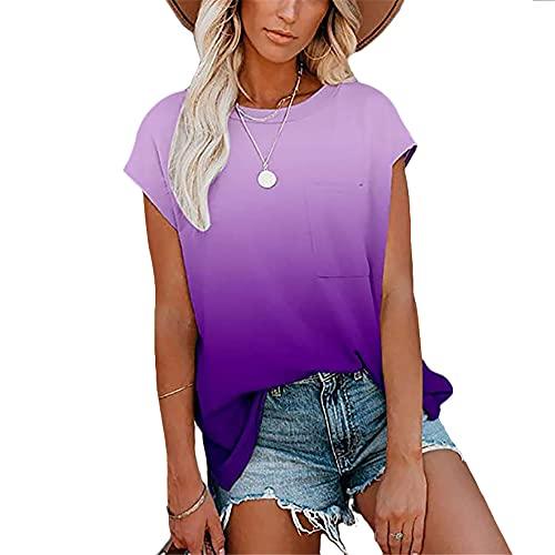 PRJN Camisa para Mujer Camiseta de Manga Corta con Efecto Tie Dye Tops Casuales Blusa para Mujer Tops con teñido Anudado para Mujer Camisetas de algodón con Cuello Redondo de Manga Corta Camisetas