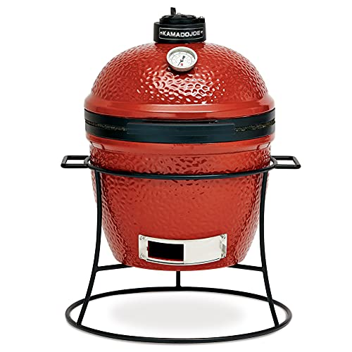 Kamado Joe KJ13RH Portable Versatile Kamado Charcoal Grill, Blaze Red