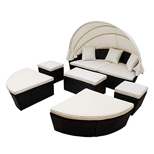 PHLPS Muebles de muebles de mimbre modulares Set de muebles seccional en el exterior Conjunto de semáforos de patio Muebles de patio con cama redonda con dosel retráctil Mimbre Rattan Separado Securad