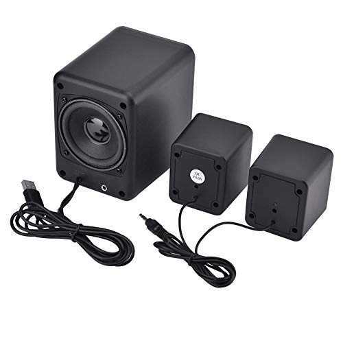 USB Power Supply Wired Combination Speaker Stereo Music Player Subwoofer for Phone Laptop Composed of 1 Main Speaker and 2 Side Speakers(black)