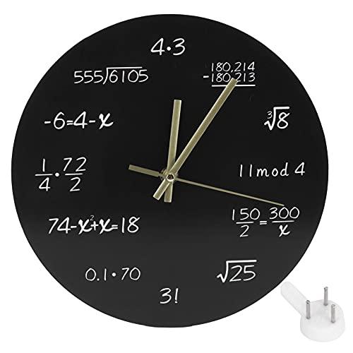 Reloj de pared de matemáticas, reloj de pared único cada hora marcado por una ecuación matemática simple Reloj de pared decorativo con pilas para regalo de maestro de matemáticas Aula Oficina en casa