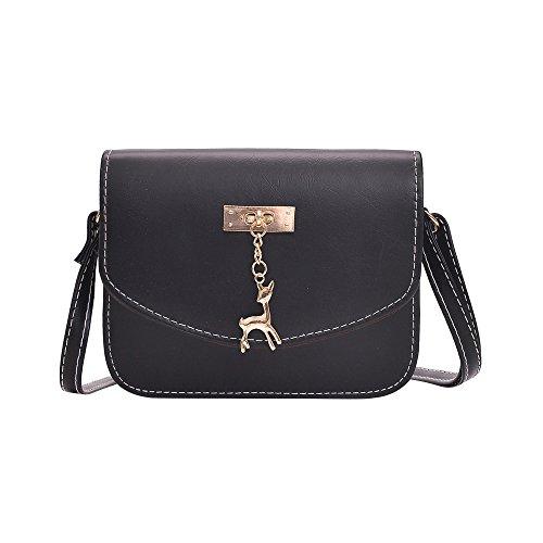 Damen Leder Umhängetasche Reh Anhänger Reißverschluss Citytasche Schultertasche Casual Crossbody Messenger Tasche (B Typ Schwarz)