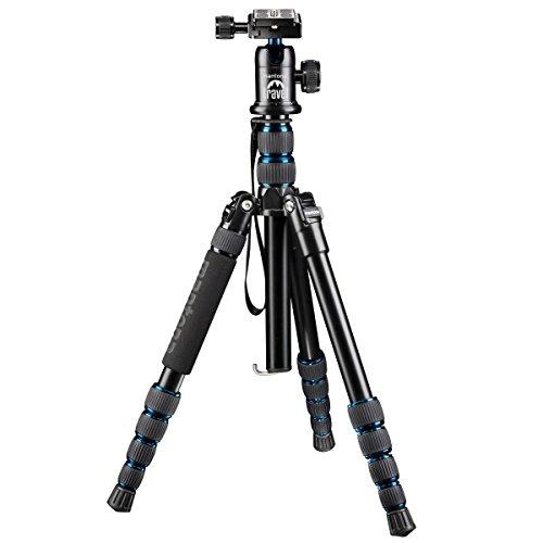 Cavalletto Mantona DSLM Travel (incl. testa a sfera, portata fino a 5kg, Colonna centrale girevole, dimensioni confezione) per fotocamera sistema com