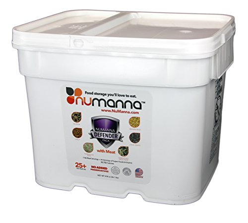 NuManna Defender Pack with Meat - 200 Servings, Emergency Survival Food Storage Kit Includes 74 Servings of Organic Grains and Super Foods, Separate Rations, In A Bucket, 25+ Year Shelf Life, GMO-Free