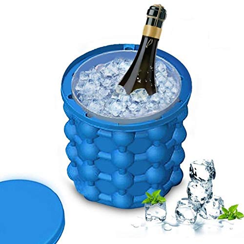 LSXIAO Ice Bucket,Ice Cube Maker,Silica Gel Grid with Cover Ice Cube Mold Wine Ice Cooler Whiskey Freeze Save Space Beer Cooler Kitchen Tools (Color : Blue, Size : 5.3x5.7')