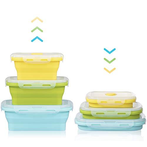 Czemo Faltbare Frischhaltedosen Silikon Zusammenklappbaren Container, Bento Lunchboxen, Faltbare Brotbox, Camping schüssel, Frischhalteboxen für Kühlschränke Mikrowellen, Set von 3