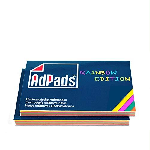 AdPads® elektrostatisch selbstklebende Haftnotizen Rainbow Edition | 100 x 68mm, 200 Blatt, Bunt | Mixed Static Sticky Notes | Beweglich und verschiebbar auf jeder Oberfläche
