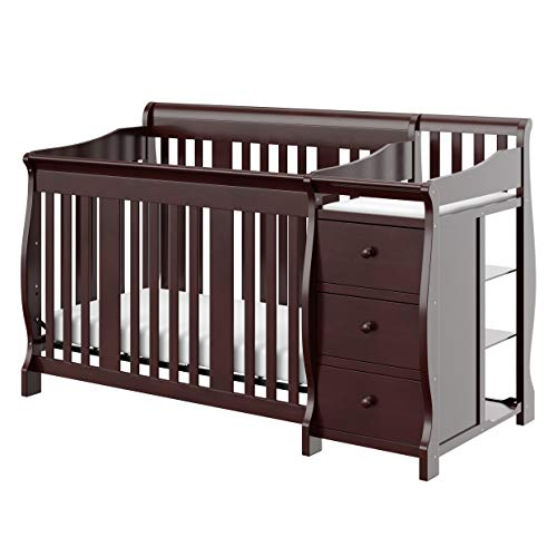 Storkcraft Portofino 4-in-1 Fixed Side Convertible Crib and Changer, Espresso, Easily Converts to Toddler Bed Day Bed or Full Bed, Three Position...