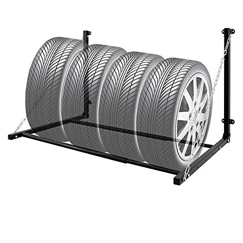 ECD Germany Soporte de Pared para Neumáticos Almacenamiento para 4 Ruedas hasta 150 kg Estante de Pared para Llantas de Acero Negro Porta-Neumatico Plegable Anchura Ajustable con Barra Telescópica
