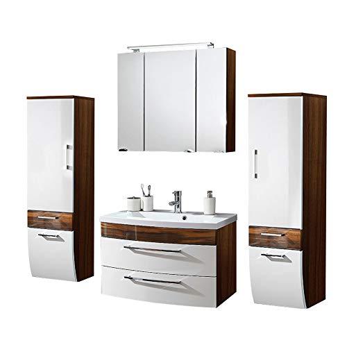 Badmöbel Set 4-teilig, Weiß hochglanz & Walnuss Holz-Optik, Badezimmer Komplettset: Spiegelschrank mit LED Beleuchtung, Waschtisch mit Unterschrank, 2 Hochschränke, Schubladen & Türen mit Softclose