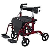 Vive Rollator Wheelchair - Transport Walker Chair - 8 Inch Wheels -...