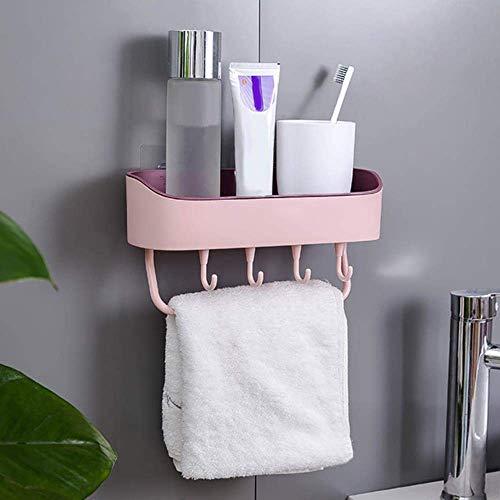 Handig Rek van de handdoek haak keuken organisator Supplies Hooks Badkamer Handdoekrek wandplank Sucker Planken product met Hooker houder rangement cuisine, Donkerblauw (Color : Pink)