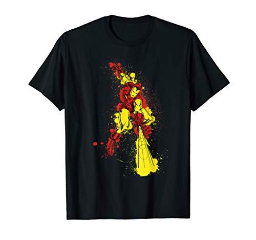 Marvel Iron Man Retro Paint Splatter Action Graphic T-Shirt