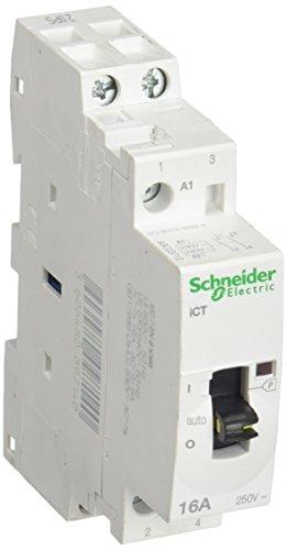 Schneider Electric A9C23712 iCT contacteur à commande manuelle, Acti9, 16 A, 2NO, 230-240VCA, 50 Hz, Blanc