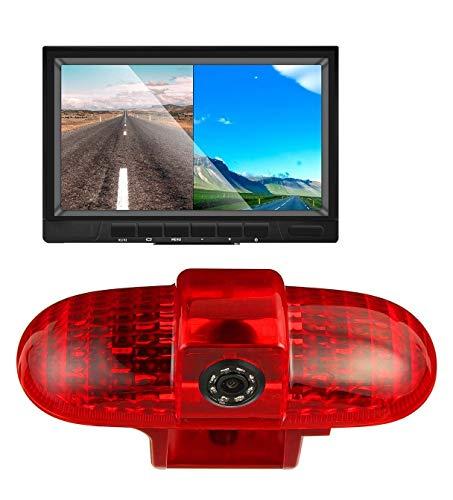 HD 720p 3. Bremslicht Rückfahrkamera-Set, 17,8 cm (7 Zoll) LCD-Monitor mit IP68 Wasserdichter Nachtsicht Rückfahrkamera für Renault Trafic, Opel Vivaro, Fiat Talento, Nissan Primastar (2001–2014)