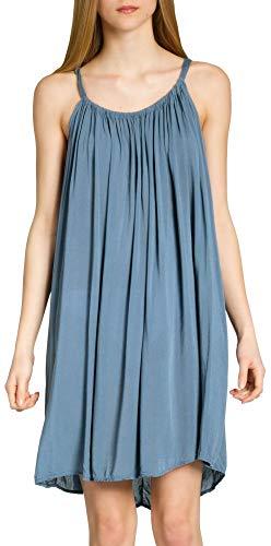 Caspar SKL010 Damen leichtes Baumwoll Sommerkleid, Farbe:Jeans blau, Größe:One Size