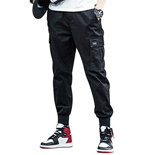 Pantalons Streetwear coroniens pour Hommes de la Mode coréenne Baron Cargo Pants Men Sarouel lâche (Noir, XXXXL)